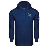 Under Armour Navy Performance Sweats Team Hoodie-CU with Yellow Jacket