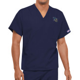 Unisex Navy V Neck Tunic Scrub with Chest Pocket-CU with Yellow Jacket