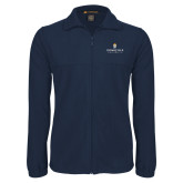 Fleece Full Zip Navy Jacket-Cedarville University