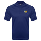 Navy Textured Saddle Shoulder Polo-Official Logo