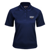 Ladies Navy Textured Saddle Shoulder Polo-Cedarville University EST. 1887