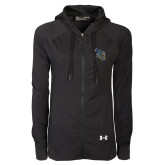 Ladies Under Armour Black Varsity Full Zip Hoodie-CU with Yellow Jacket