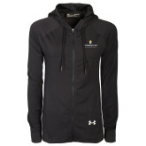 Ladies Under Armour Black Varsity Full Zip Hoodie-Cedarville University