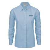 Ladies Light Blue Oxford Shirt-Cedarville University EST. 1887