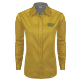 Ladies Gold Twill Button Down Long Sleeve-Cedarville University EST. 1887