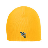 Gold Knit Beanie-CU with Yellow Jacket