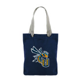 Allie Navy Canvas Tote-CU with Yellow Jacket