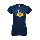 Next Level Ladies SoftStyle Junior Fitted Navy Tee-UCO with Mascot