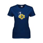 Ladies Navy T Shirt-UCO with Mascot