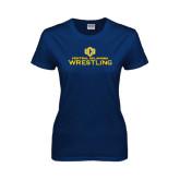 Ladies Navy T Shirt-Central Oklahoma Wrestling
