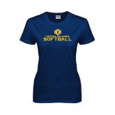 Ladies Navy T Shirt-Central Oklahoma Softball