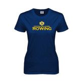 Ladies Navy T Shirt-Central Oklahoma Rowing