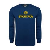 Navy Long Sleeve T Shirt-Central Oklahoma Bronchos Official Logo