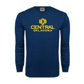 Navy Long Sleeve T Shirt-Central Oklahoma Official Logo