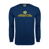 Navy Long Sleeve T Shirt-Central Oklahoma Wrestling