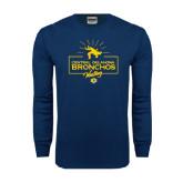 Navy Long Sleeve T Shirt-Bronchos Wrestling