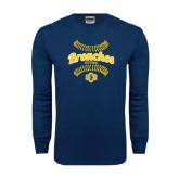 Navy Long Sleeve T Shirt-Bronchos Softball
