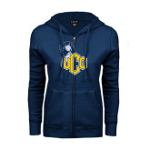 ENZA Ladies Navy Fleece Full Zip Hoodie-UCO with Mascot