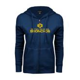 ENZA Ladies Navy Fleece Full Zip Hoodie-Central Oklahoma Bronchos Official Logo