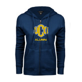 ENZA Ladies Navy Fleece Full Zip Hoodie-UCO Alumni