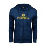 ENZA Ladies Navy Fleece Full Zip Hoodie-Central Oklahoma Football