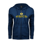 ENZA Ladies Navy Fleece Full Zip Hoodie-Central Oklahoma Wrestling