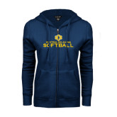 ENZA Ladies Navy Fleece Full Zip Hoodie-Central Oklahoma Softball