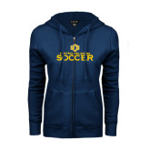 ENZA Ladies Navy Fleece Full Zip Hoodie-Central Oklahoma Soccer
