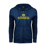 ENZA Ladies Navy Fleece Full Zip Hoodie-Central Oklahoma Rowing