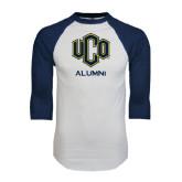 White/Navy Raglan Baseball T-Shirt-UCO Alumni