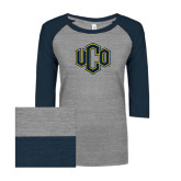 ENZA Ladies Athletic Heather/Navy Vintage Triblend Baseball Tee-Official Logo