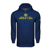 Under Armour Navy Performance Sweats Team Hoodie-Central Oklahoma Wrestling