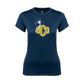 Ladies Syntrel Performance Navy Tee-UCO with Mascot