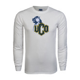 White Long Sleeve T Shirt-UCO with Mascot