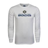 White Long Sleeve T Shirt-Central Oklahoma Bronchos Official Logo