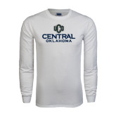 White Long Sleeve T Shirt-Central Oklahoma Official Logo