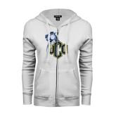 ENZA Ladies White Fleece Full Zip Hoodie-UCO with Mascot