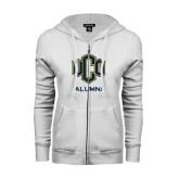 ENZA Ladies White Fleece Full Zip Hoodie-UCO Alumni