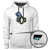 Contemporary Sofspun White Hoodie-UCO with Mascot