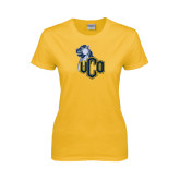 Ladies Gold T Shirt-UCO with Mascot