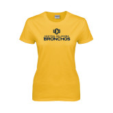 Ladies Gold T Shirt-Central Oklahoma Bronchos Official Logo