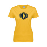 Ladies Gold T Shirt-Official Logo Distressed