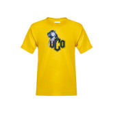 Youth Gold T Shirt-UCO with Mascot