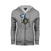 ENZA Ladies Grey Fleece Full Zip Hoodie-UCO with Mascot