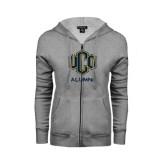 ENZA Ladies Grey Fleece Full Zip Hoodie-UCO Alumni