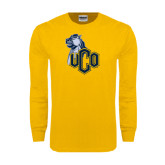 Gold Long Sleeve T Shirt-UCO with Mascot