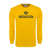 Gold Long Sleeve T Shirt-Central Oklahoma Bronchos Official Logo