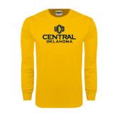 Gold Long Sleeve T Shirt-Central Oklahoma Official Logo