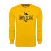 Gold Long Sleeve T Shirt-Bronchos Wrestling