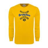 Gold Long Sleeve T Shirt-Bronchos Softball